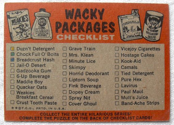 The first series of Topps Wacky Packages stickers from 1973. CHECKLIST