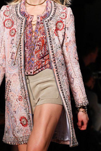 Isabel Marant Spring 2013 pink beige tan red silver studded jacket leather shorts belted