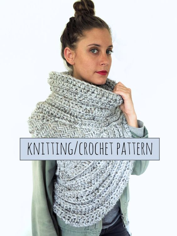Knitting/Crochet Pattern // Asymmetric Cowl Vest Shawl Scarf One Armed // Hun...