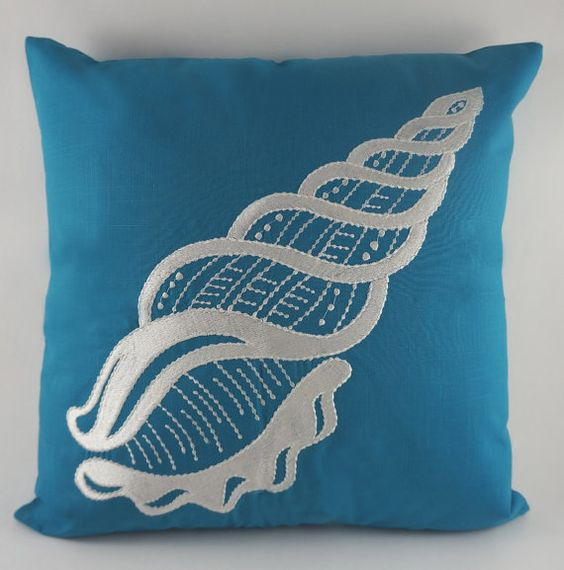 Nautical Decorative Pillow Covers : SeaShell Pillow Cover, Embroidery, Nautical Pillow, Beach decor, Decorative Pillow, Accent ...