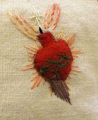 Sacred Heart Detail on Reliquary Fabric Card (peregrine blue) Tags: catholic embroidery icon redheart handstitched scapular sacredheartofjesus catholicicon