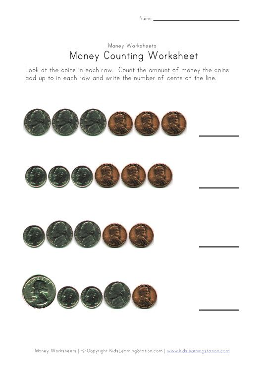 Coin Counting Worksheets: Quarters, Dimes, Nickels and Pennies | K ...