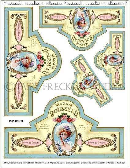 Item L101 Shabby Victorian Style French Label Decals