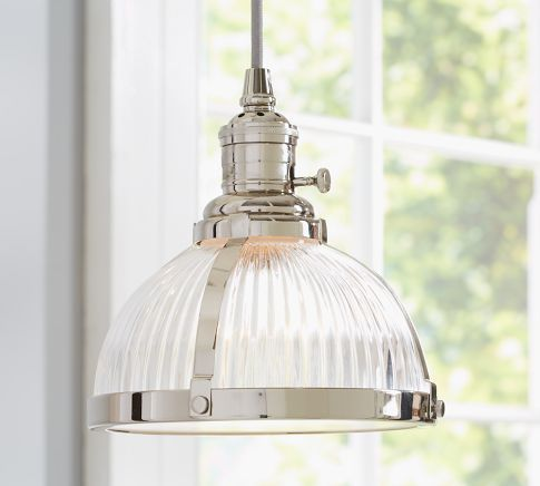 PB Classic Pendant Ribbed Glass Pottery Barn Over The Sink Kitchen Li