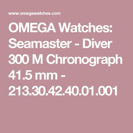 OMEGA Watches: Seamaster - Diver 300 M Chronograph 41.5 mm - 213.30.42.40.01.001