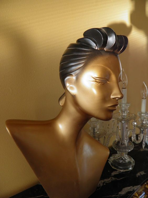 Vintage Deco Bust Mannequin Goldfinger Retro by veryfrenchbydesign.