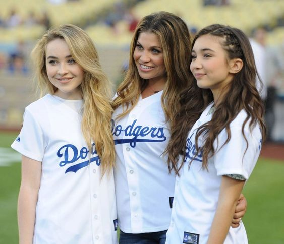 Girl meets world cast at Dodgers game, Sabrina Carpenter and Rowen Blanchard and Danielle Fishel.