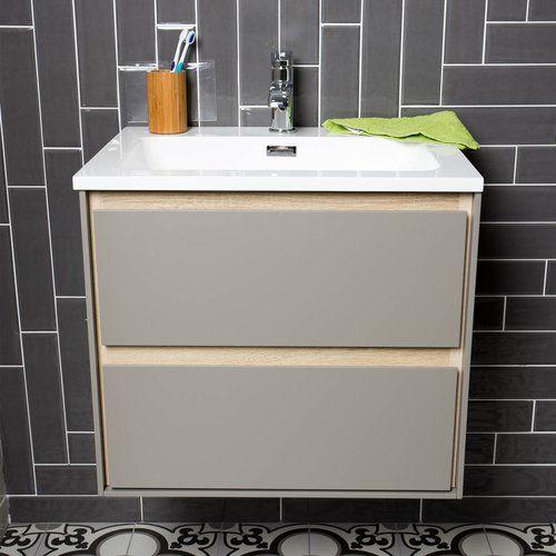 Charette 590mm Wall Mount Vanity Unit Belfry Bathroom Base Finish Grey Vanity Units