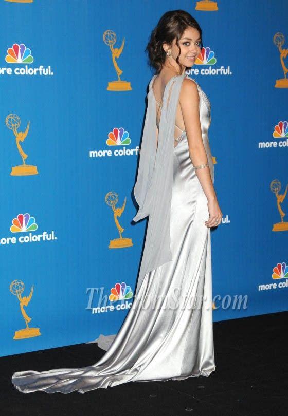 sarah hyland award dresses   Sarah Hyland Sexy Silver Beaded Straps Prom Dress 2010 Emmy Awards ...