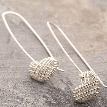 Silver Crocheted Heart Drop Earrings