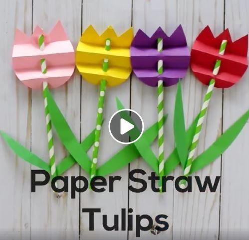 Pretty Paper Straw Tulip Craft Flower Crafts Straw Crafts Flower Pot Crafts