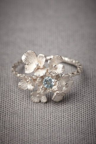 Silvered Posy Ring: Blue Topaz, Beautiful Rings, Wedding Band