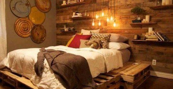 Decoraci n del dormitorio con palets de madera y objetos - Decoracion con reciclaje ...