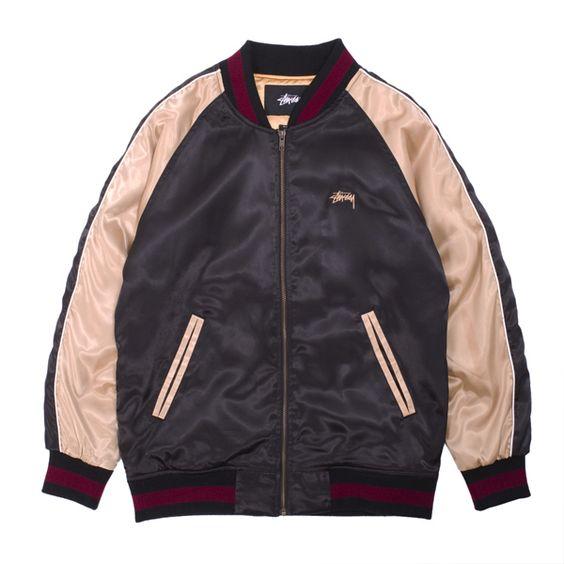 Stussy Souvenir Tour Jacket - Vintage style satin baseball jacket