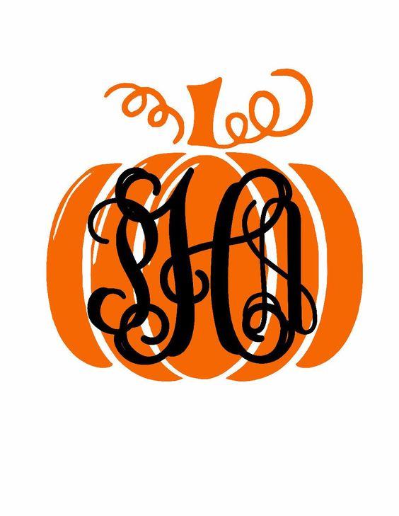 Pumpkin Monogram Vinyl Decal