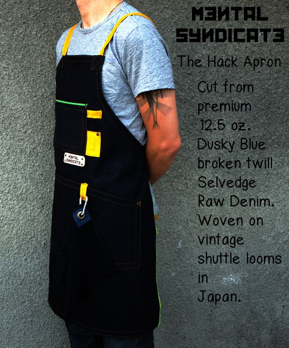 The Hack Apron is our finest product.Cut from 12.5 oz. Japan Green Selvedge Dusky Blue Raw Denim.This fabric is woven in Kurabo Mills on vintage shuttle looms.The essential in this garment is the 3x1 enlarged pocket who gives you freedom in work and in the same time reinforced the Apron.The orange linen straps are cross tied on the back and you can adjust the perfect position.Finished with aged copper rivet and handcrafted,laser engraved veg tanned leather patch.