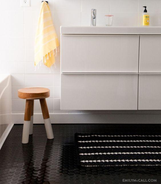 Bathroom Vanity Rugs: Dip Dyed Stool, Godmorgon Bathroom Vanity, And Nate Berkus