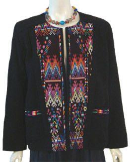 Vintage 80s Guatemala Ethnic Cotton Jacket Hand Made Guatemalan