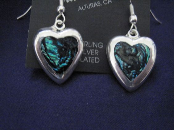 Heart-Shaped Abalone Silver Platted Earrings #UpstreamTradingCompany #DropDangle