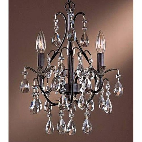 $104 3 Light Antique Copper Crystal Chandelier Light