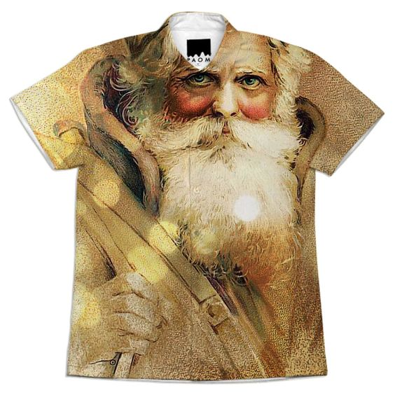 Golden Bokeh vintage Santa Claus Short Sleeve Work Shirt from Print All Over Me
