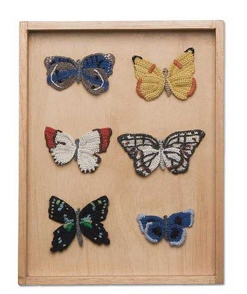 the oeuf butterfly shadow box is a modern take on a classic victorian decoration these beautifully detailed hand crocheted butterflies come in groups of