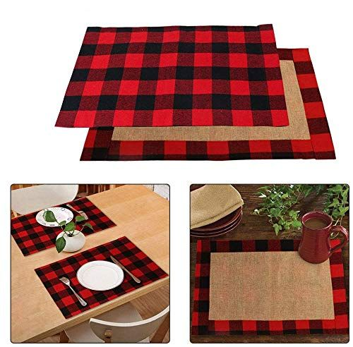 Ourwarm 6pcs Buffalo Plaid Placemats Red And Black Buffalo Check Placemats Reversibl Christmas Placemats Holiday Table Decorations Christmas Table Decorations