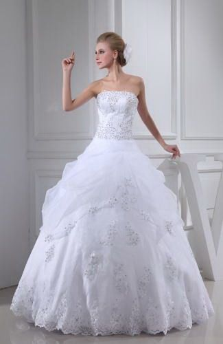 Elegant Ball Gown Strapless Wedding Dresses - Order Link: http://www.thebridalgowns.com/elegant-ball-gown-strapless-wedding-dresses-tbg1952 - SILHOUETTE: Ball Gown; SLEEVE: Sleeveless; LENGTH: Floor Length; FABRIC: Organza; EMBELLISHMENTS: Edging , Sequin , Paillette - Price: 310.99USD