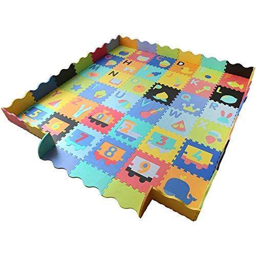 Baby Foam Play Mat With Fence Interlocking Alphabet Crawling Mat With 36 Foam Floor Tiles Foam Floor Tiles Foam Flooring Play Mat