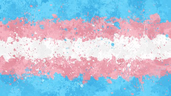 Trans Flag - Messy Action Painting Art Print by snazzygaz - X-Small