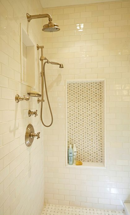 Girls bathroom renovation: white subway tile, Ken Mason handmade tile, Thassos marble niche surround, marble basketweave floor, stone mosaic niche, daisy mosaic pattern, handheld shower. For more inspo, check out http://www.susancorrydesign.com