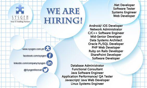 Job openings as of July 18, 2014 - We Are Hiring IT Weu0027re looking - oracle pl sql developer resume sample