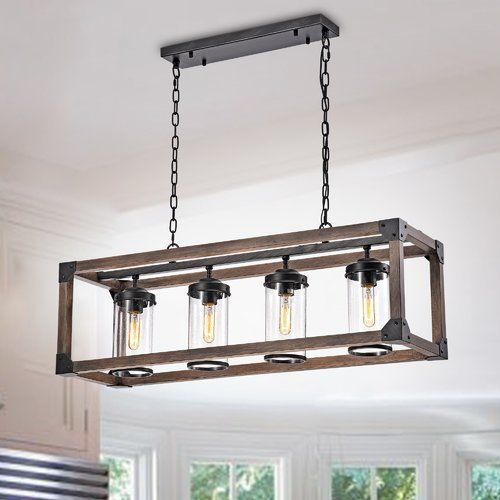 Ellenton 4 Light Shaded Rectangle Chandelier With Wrought Iron