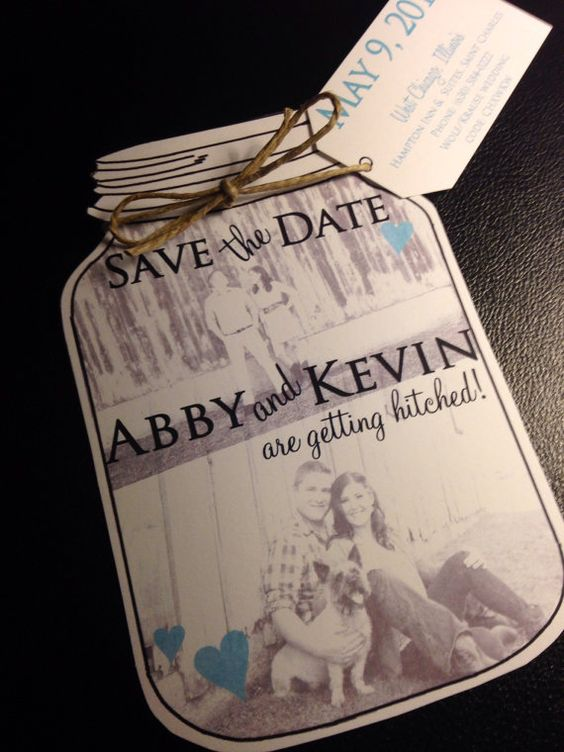 mason jar save the dates  wedding save the date cards