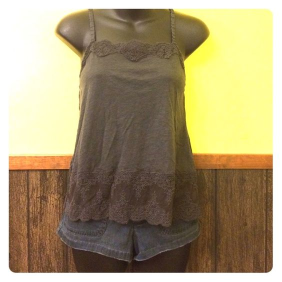 American Eagle charcoal grey lace cami Perfect condition! Gently worn. No pills or tears. Great to wear under a cardigan or sweater! Adjustable straps. Body: 60% cotton 40% modal. Mesh: 100% nylon. Embroidery: 100% cotton. American Eagle Outfitters Tops Camisoles
