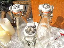 3x alte Glas Flasche Leihflasche shabby chic B