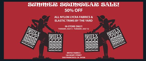 Celebrate #nationalbikiniday with 50% Off All Nylon Lycra fabrics & Elastic trim by the yard! In-Store Only! 7/5 - 7/12