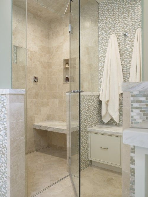 showers tile and benches on pinterest. Black Bedroom Furniture Sets. Home Design Ideas