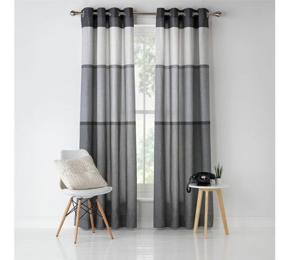 Buy HOME Banded Stripe Unlined Eyelet Curtains-117x137cm - Grey at ...