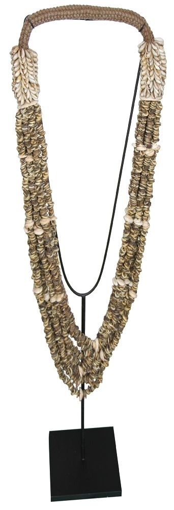 Clam shell necklace on stand