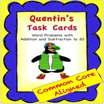 These fun penguin word problem task cards by S.O.L Train Learning use addition and subtraction to 20.  This math activity also includes fish manipulatives and a fish pond work mat .  Students get excited to see Quentin the Quality Penguin on the cards. $