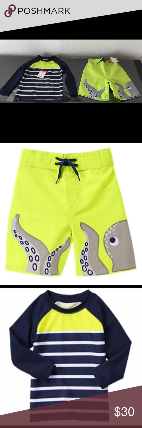 Gymboree Octopus Swim Short Trunks & Rash Guard Absolutely ADORABLE Gymboree SWIM SHOP Octopus Swim Shorts/Trunks with Matching Rash Guard NEW WITH TAGS - ORIGINALLY RETAILED FOR $49.90 ($24.95 a piece)!!  Size: 18-24 Months Colors: Neon Chartreuse, Grey, Navy and White From Gymboree's website: 	•	Shorts: 100% polyester, Rash Guard: 83% polyester/17%spandex tricot 	•	UPF 50+ 	•	Features screen printed octopus with embroidered edges 	•	Elasticized waist with mock drawstring 	•	Mesh lining…