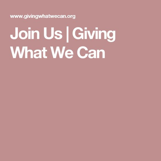 Join Us | Giving What We Can