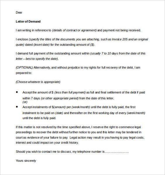 Demand Letter Template Free Word Pdf Documents Download  Home