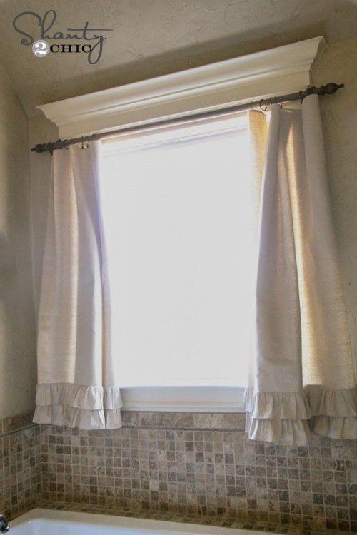 Diy Ruffle Drop Cloth Curtains Bath Window Curtains Bathroom Window Curtains