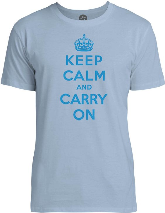 Keep Calm and Carry On (Cyan) Mens Fine Jersey T-Shirt