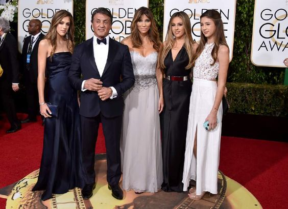 Sophia Stallone, from left, Sylvester Stallone, Jennifer Flavin, Sistine Stallone, and Scarlet Stallone arrive at the 73rd annual Golden Globe Awards on Sunday, Jan. 10, 2016, at the Beverly Hilton Hotel in Beverly Hills, Calif. (Photo by Jordan Strauss/Invision/AP):