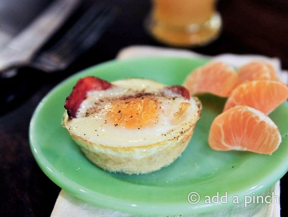 Bacon and Egg Cups Recipe - Cooking | Add a Pinch | Robyn Stone