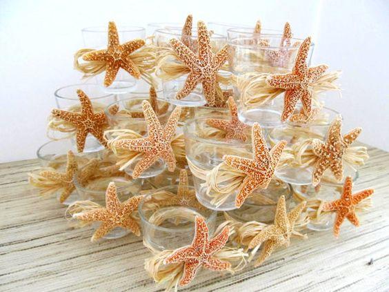 beach wedding decor sugar starfish votives with natural