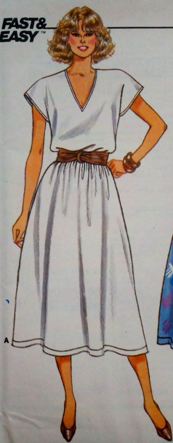 """Vintage 80's Women's Sewing Pattern Butterick 3743 Pullover Belted Dress Round or V Neckline Sizes 6-14 Bust 30.5-36"""". $6.00, via Etsy."""